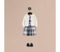 Cardigan aus Baumwollstrick mit Check-Bündchen