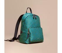 Rucksack aus abstraktem Jacquard-Gewebe mit Lederbesatz