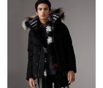 Wattierte Jacke aus Kaschmir mit kurzer Silhouette und Pelzbesatz