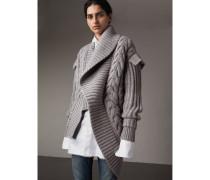 Asymmetrischer Cardigan aus Kaschmir mit Zopfmuster