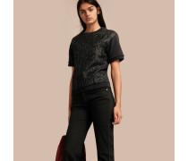 Kurzärmeliges Sweatshirt aus einer Baumwollmischung mit Jacquard-Panel