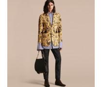 Körperbetonte Jacke aus Baumwollseide mit antikem Druck