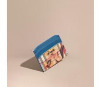 Kartenetui aus Haymarket Check-Gewebe mit Pfingstrosenmotiv und Lederbesatz