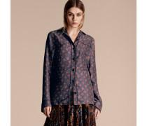 Langärmelige Seidenbluse Im Pyjamastil Mit Geometrischen Motiv