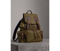 The Large Rucksack aus Nylon und Leder mit Steppnahtdetails