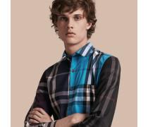 Hemd aus einer Baumwollmischung im Colour-Blocking-Design mit Check-Muster