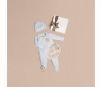 Dreiteiliges Baby-Geschenkset aus Baumwolle mit Check-Muster