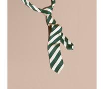 Schmale Krawatte aus Seide und Baumwolle mit Streifenmuster