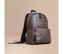 Rucksack aus London Check-Gewebe mit Lederbesatz