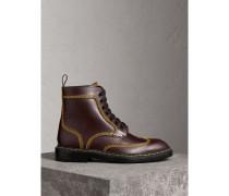 Derby-Stiefel aus Leder mit Steppnähten