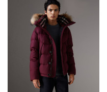 Wattierte Jacke aus Kaschmir mit abnehmbarem Pelzbesatz