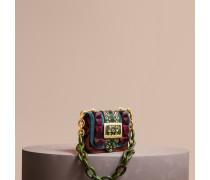 The Mini Square Buckle Bag aus Samt und Straußenleder