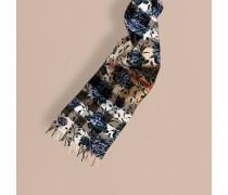 Wendbarer Kaschmirschal mit Check- und floralem Muster