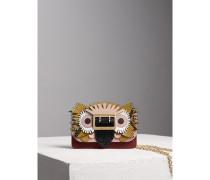 The Mini Buckle Bag aus Leder und Natternleder mit  Beasts-Motiv