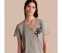 T-Shirt aus Baumwolle mit floraler Paillettenapplikation