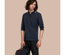 Langärmeliges Poloshirt aus Baumwollpiqué mit Streifendetail