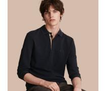 Langärmeliges Poloshirt Mit Check-knopfleiste