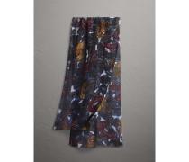 Schal aus Leinen mit Karodetail und  Beasts-Motiv