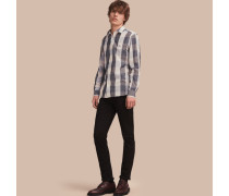 Hemd aus Baumwolle und Leinen mit extragroßem Vichy-Muster