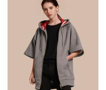 Extragroßes Sweatshirt aus Baumwolljersey mit Kapuze und Reißverschluss