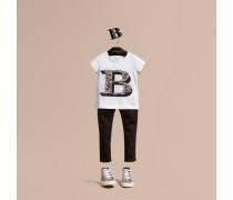 T-shirt Aus Baumwolle Mit Dekorativem Buchstabenmotiv