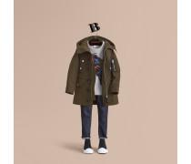 Utility-Jacke mit Kapuze und Lederbesatz
