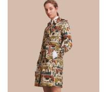 Trenchcoat aus Baumwolle mit Kunstdruckmotiv