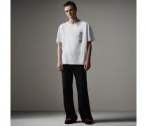 T-Shirt mit kastiger Passform und Kristallbrosche