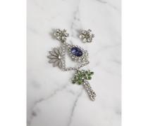 Set mit Gänseblümchen-Ohrhänger und -stecker mit Kristallen