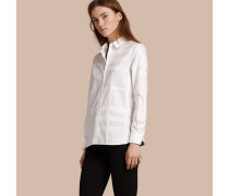 Jacquard-Baumwollbluse in Check