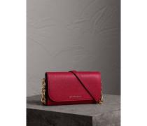 Brieftasche aus Leder mit abnehmbarem Riemen und Steppnahtdetail