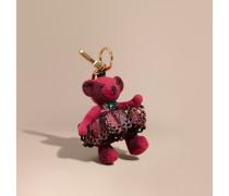 Teddybär-Anhänger aus Leder in Spitzenoptik mit Kristallen