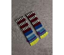 Fingerlose Handschuhe aus Kaschmir und Wolle im Fair Isle-Design mit Streifen