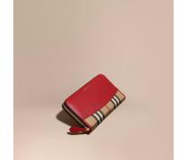 Brieftasche in Horseferry Check mit umlaufendem Reißverschluss und Lederbesatz