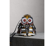 The Owl - Crossbody-Tasche aus Kalbveloursleder und Kalbfell