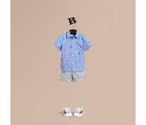 Oxford-Hemd aus Baumwolle mit aufgestickten Nordseemotiven