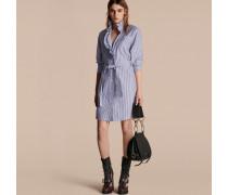 Hemdkleid Aus Baumwolle Mit Streifenmuster Und Rüschendetail