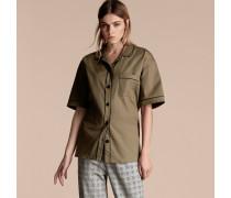 Kurzärmelige Bluse Aus Stretchbaumwolle Im Pyjamastil