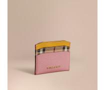 Kartenetui aus Leder und Haymarket Check-Gewebe im Colour-Blocking-Design