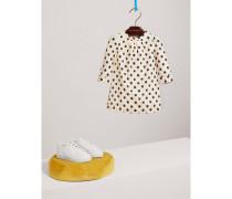 Kleid in A-Linie aus Baumwollseide mit Punktmuster