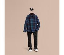 Hemd aus Baumwollflanell mit Check-Muster und Button-down-Kragen