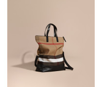 Messenger-tasche In Canvas Check Mit Lederbesatz Und Überschlagverschluss