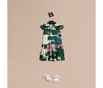 Kleid aus Baumwolle mit Rüschenbesatz und Motiv in Pinselstrichoptik