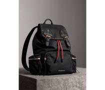 The Large Rucksack aus Nylon und Leder mit Ziernieten