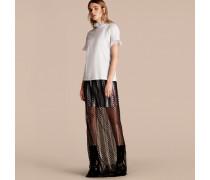 T-shirt Aus Baumwolle Mit Rüschen Aus Tüll