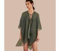 Pareo aus Baumwolle und Seide mit geometrischem Kachelmuster