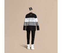 Langärmeliges Baumwoll-t-shirt Mit Streifenmuster