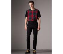 T-Shirt aus Baumwolle mit Schottenmusterpanel