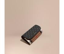 Brieftasche im Kontinentalformat aus Leder und House Check-Gewebe mit Ziernieten