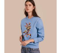 Sweatshirt aus einer Baumwollmischung mit floraler Stickerei